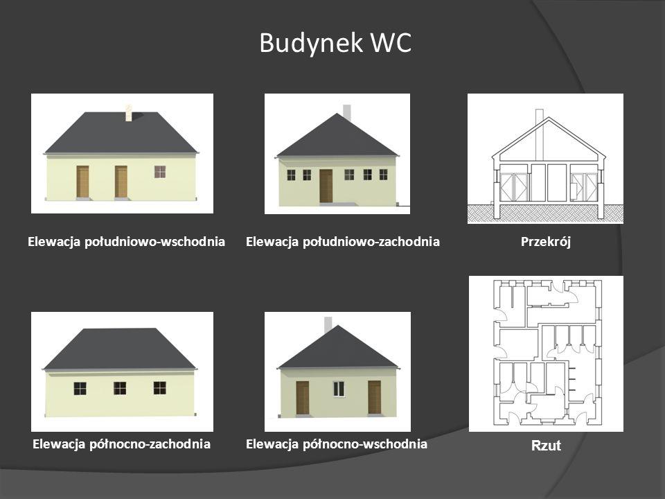 Budynek WC Elewacja południowo-wschodnia Elewacja południowo-zachodnia