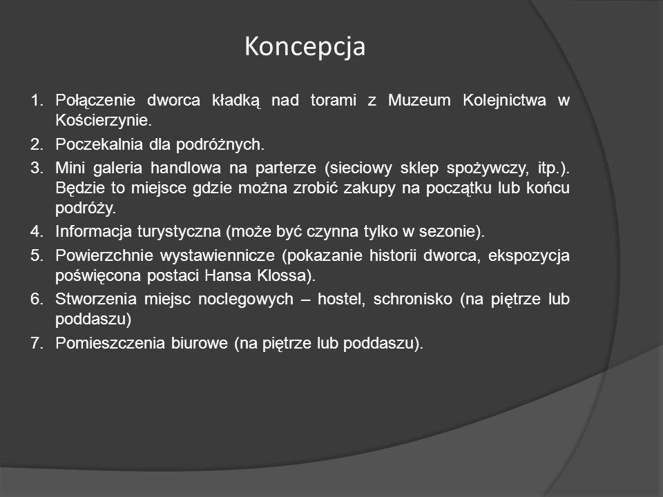 Koncepcja Połączenie dworca kładką nad torami z Muzeum Kolejnictwa w Kościerzynie. Poczekalnia dla podróżnych.