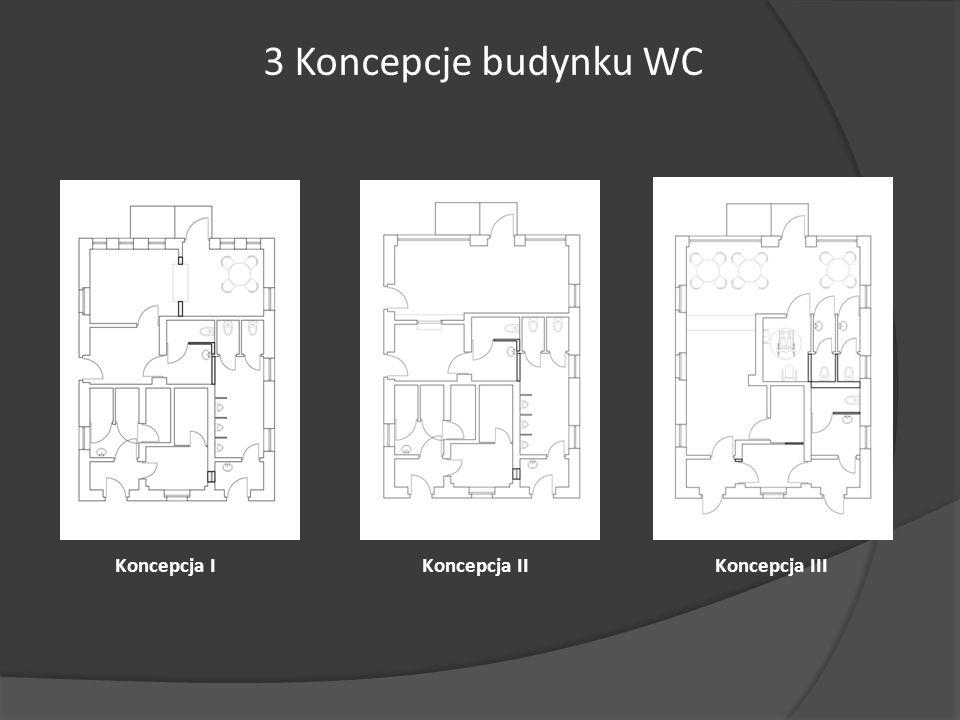 3 Koncepcje budynku WC Koncepcja I Koncepcja II Koncepcja III