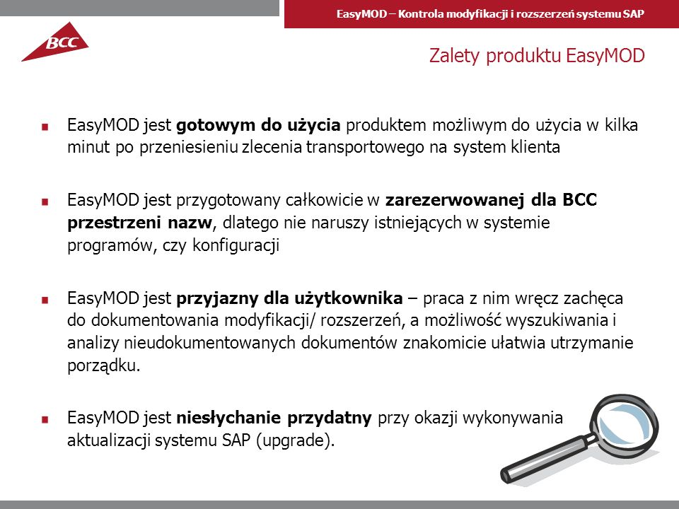 Zalety produktu EasyMOD