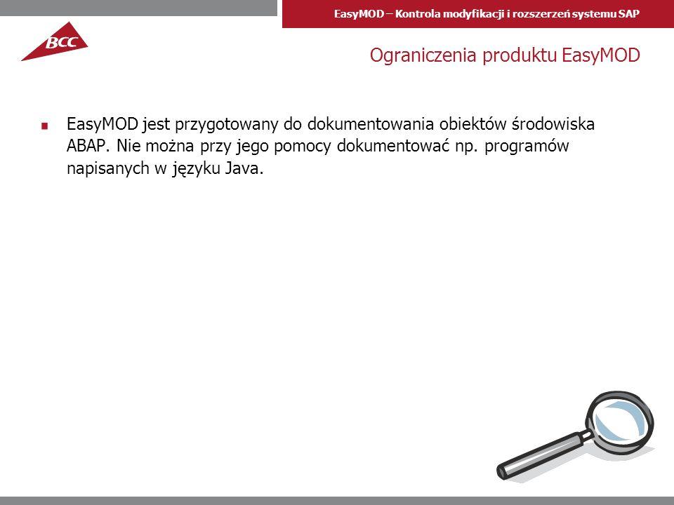 Ograniczenia produktu EasyMOD