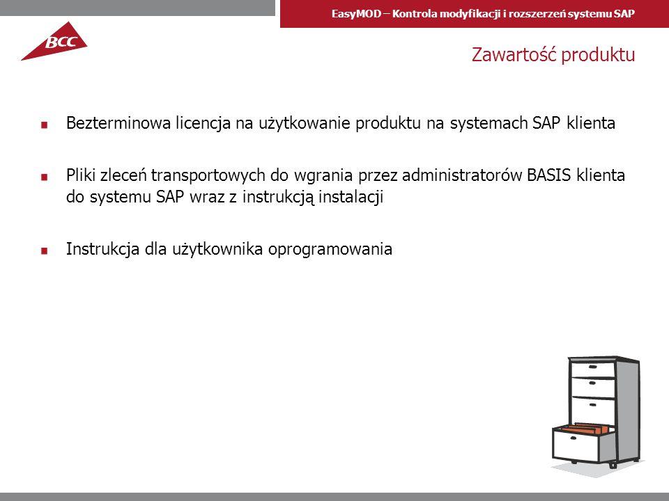 Zawartość produktuBezterminowa licencja na użytkowanie produktu na systemach SAP klienta.