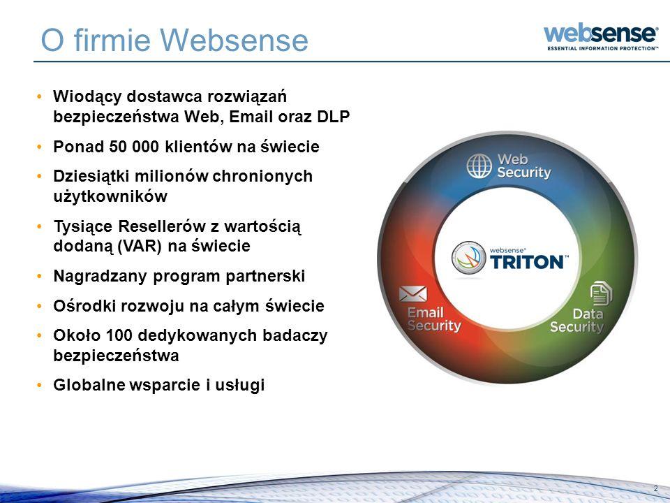 O firmie Websense Wiodący dostawca rozwiązań bezpieczeństwa Web, Email oraz DLP. Ponad 50 000 klientów na świecie.