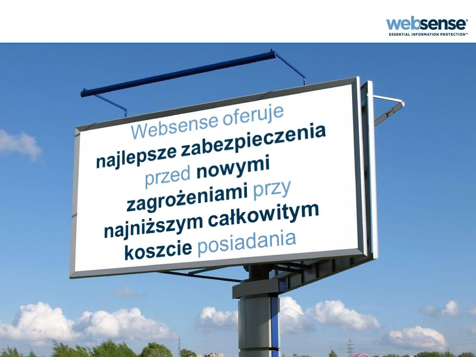 Websense oferuje najlepsze zabezpieczenia przed nowymi zagrożeniami przy najniższym całkowitym koszcie posiadania