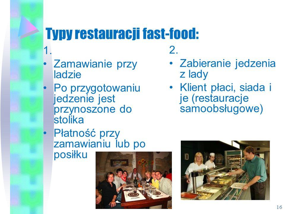 Typy restauracji fast-food: