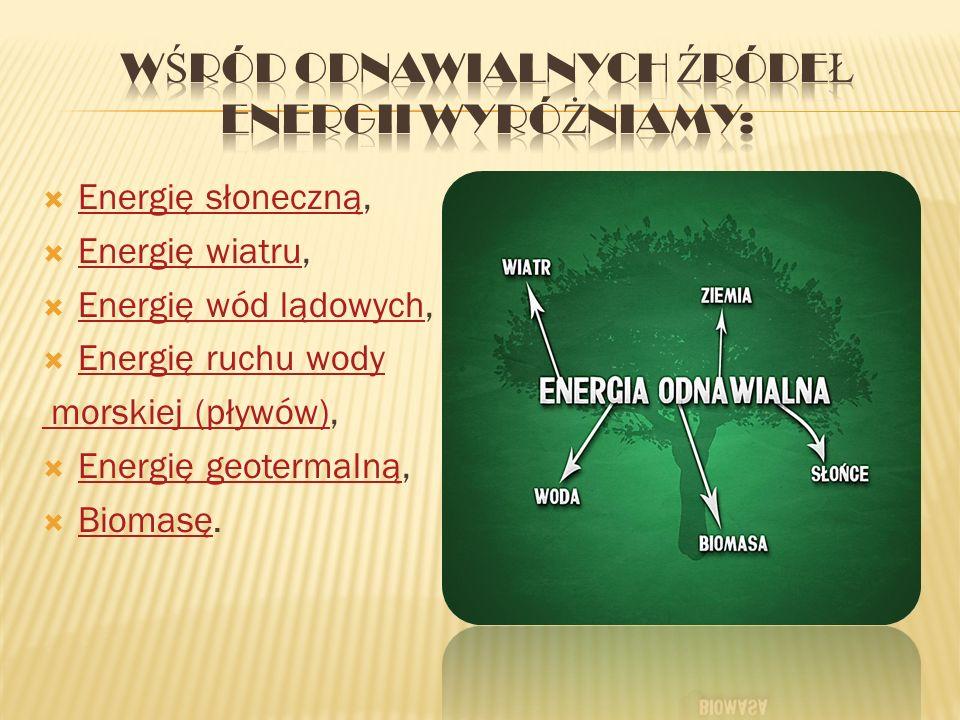 WŚRÓD ODNAWIALNYCH ŹRÓDEŁ ENERGII WYRÓŻNIAMY: