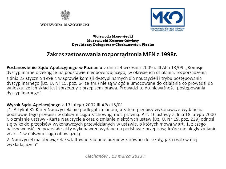 Zakres zastosowania rozporządzenia MEN z 1998r.