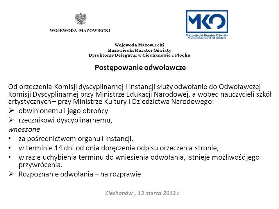 Dyrektorzy Delegatur w Ciechanowie i Płocku Postępowanie odwoławcze