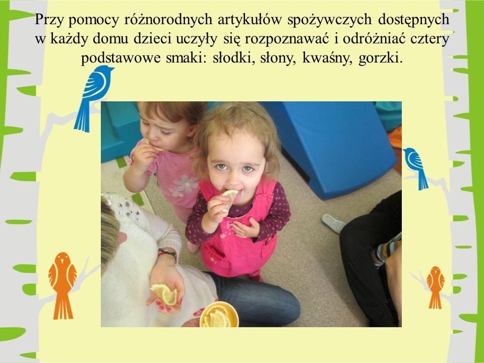 Przy pomocy różnorodnych artykułów spożywczych dostępnych w każdy domu dzieci uczyły się rozpoznawać i odróżniać cztery podstawowe smaki: słodki, słony, kwaśny, gorzki.