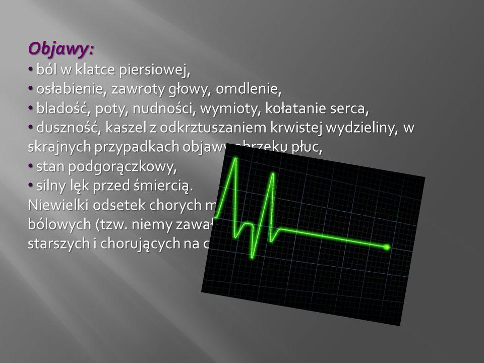 Objawy: ból w klatce piersiowej, osłabienie, zawroty głowy, omdlenie,