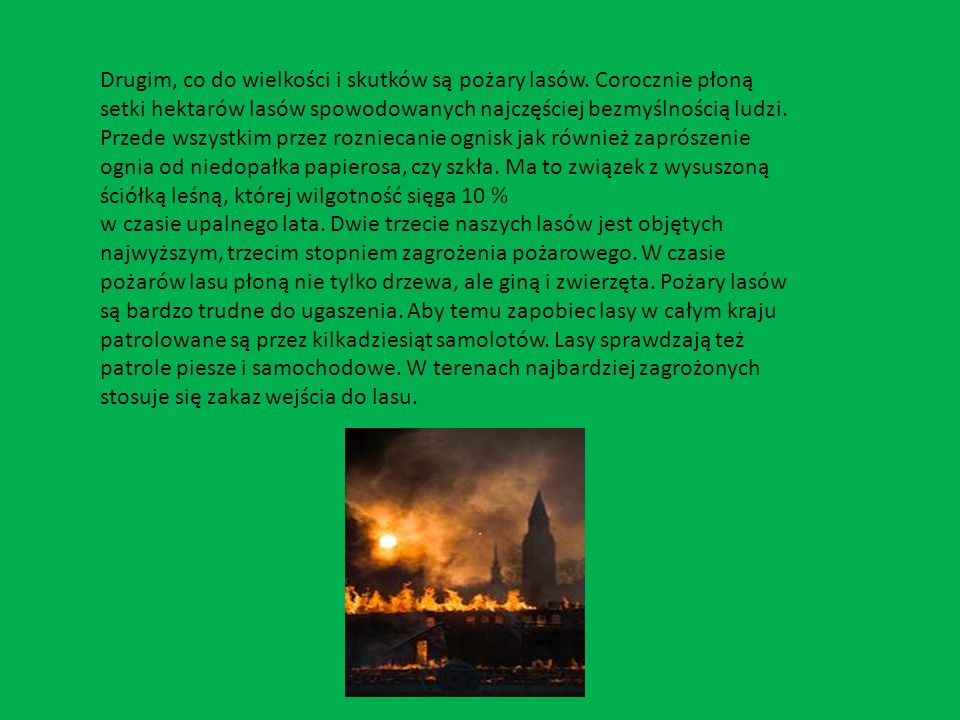 Drugim, co do wielkości i skutków są pożary lasów