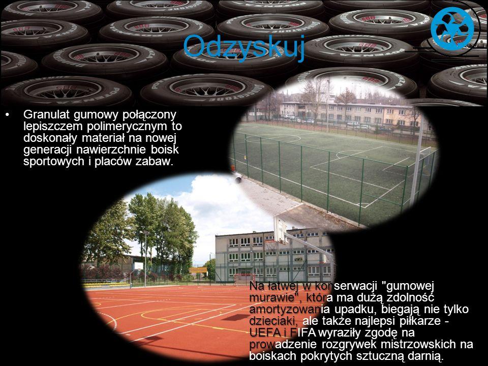 Odzyskuj Granulat gumowy połączony lepiszczem polimerycznym to doskonały materiał na nowej generacji nawierzchnie boisk sportowych i placów zabaw.