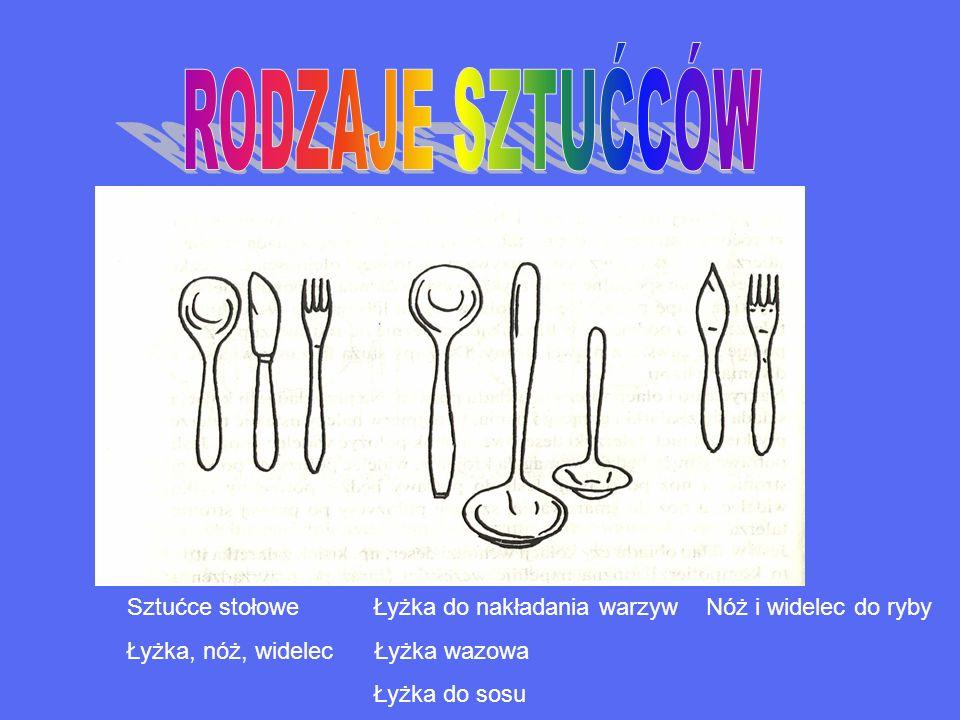 RODZAJE SZTUĆCÓW Sztućce stołowe Łyżka do nakładania warzyw Nóż i widelec do ryby. Łyżka, nóż, widelec Łyżka wazowa.