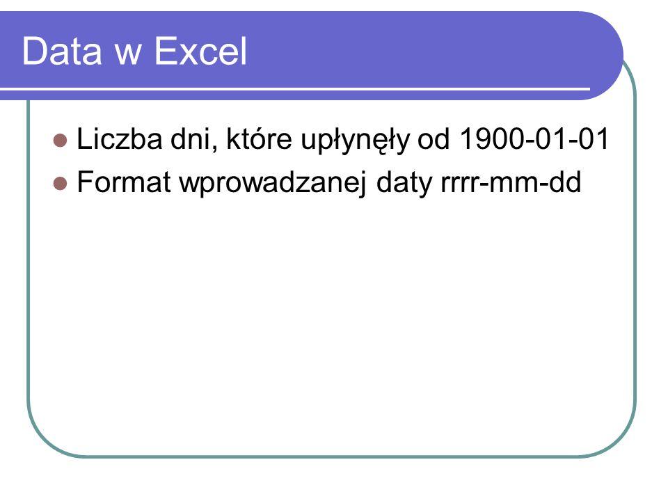 Data w Excel Liczba dni, które upłynęły od 1900-01-01