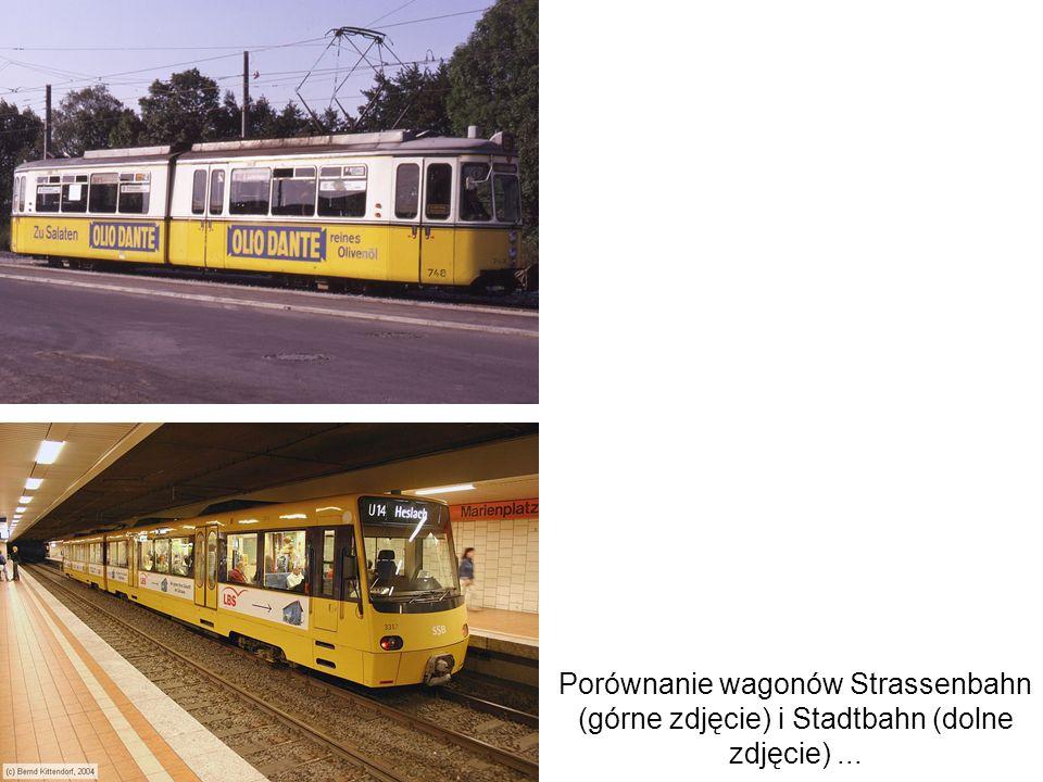 Porównanie wagonów Strassenbahn (górne zdjęcie) i Stadtbahn (dolne zdjęcie) ...