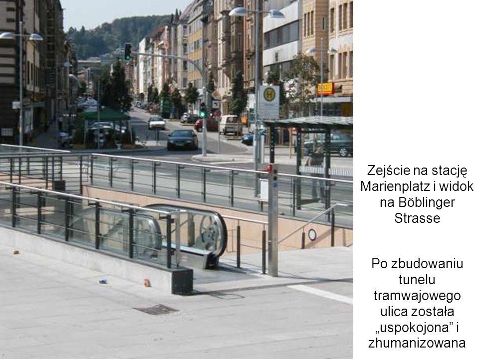 Zejście na stację Marienplatz i widok na Böblinger Strasse