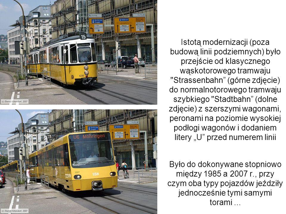 """Istotą modernizacji (poza budową linii podziemnych) było przejście od klasycznego wąskotorowego tramwaju Strassenbahn (górne zdjęcie) do normalnotorowego tramwaju szybkiego Stadtbahn (dolne zdjęcie) z szerszymi wagonami, peronami na poziomie wysokiej podłogi wagonów i dodaniem litery """"U przed numerem linii"""