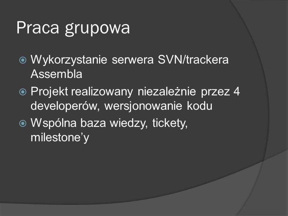 Praca grupowa Wykorzystanie serwera SVN/trackera Assembla