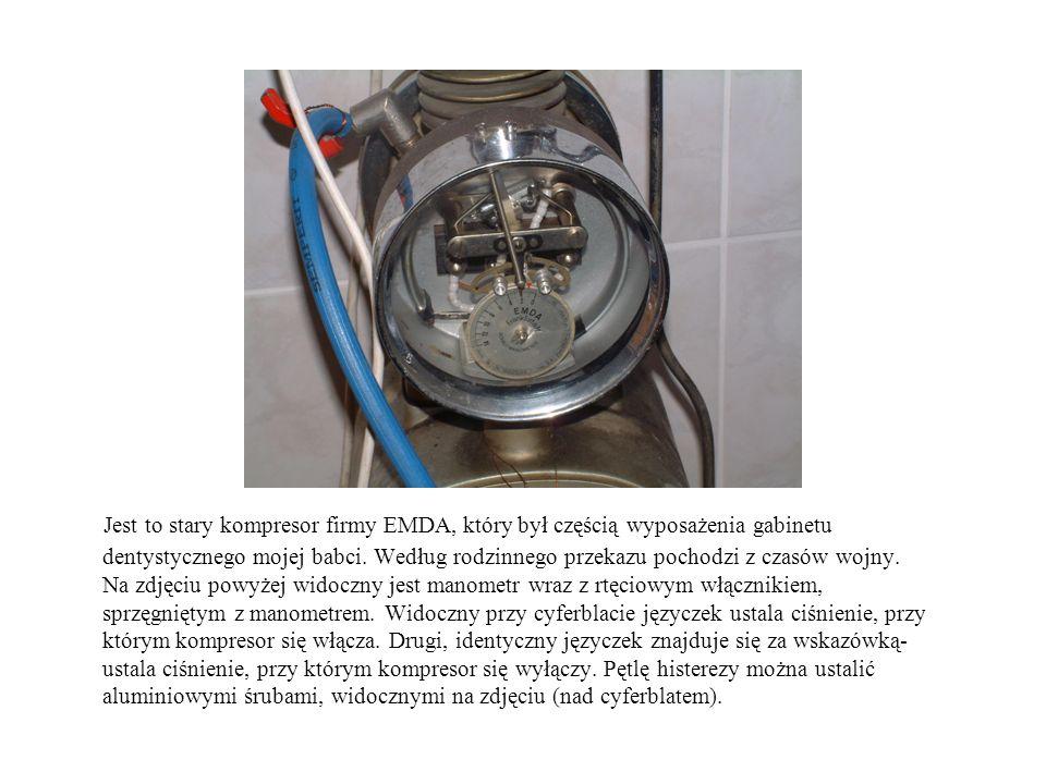 Jest to stary kompresor firmy EMDA, który był częścią wyposażenia gabinetu dentystycznego mojej babci.