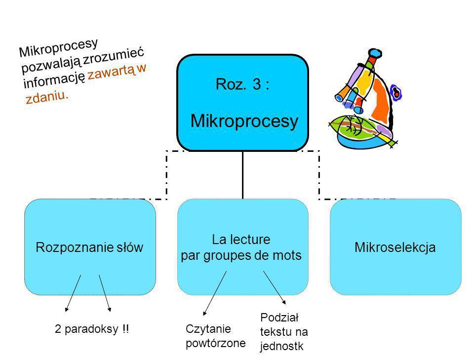 Roz. 3 : Mikroprocesy pozwalają zrozumieć informację zawartą w zdaniu.