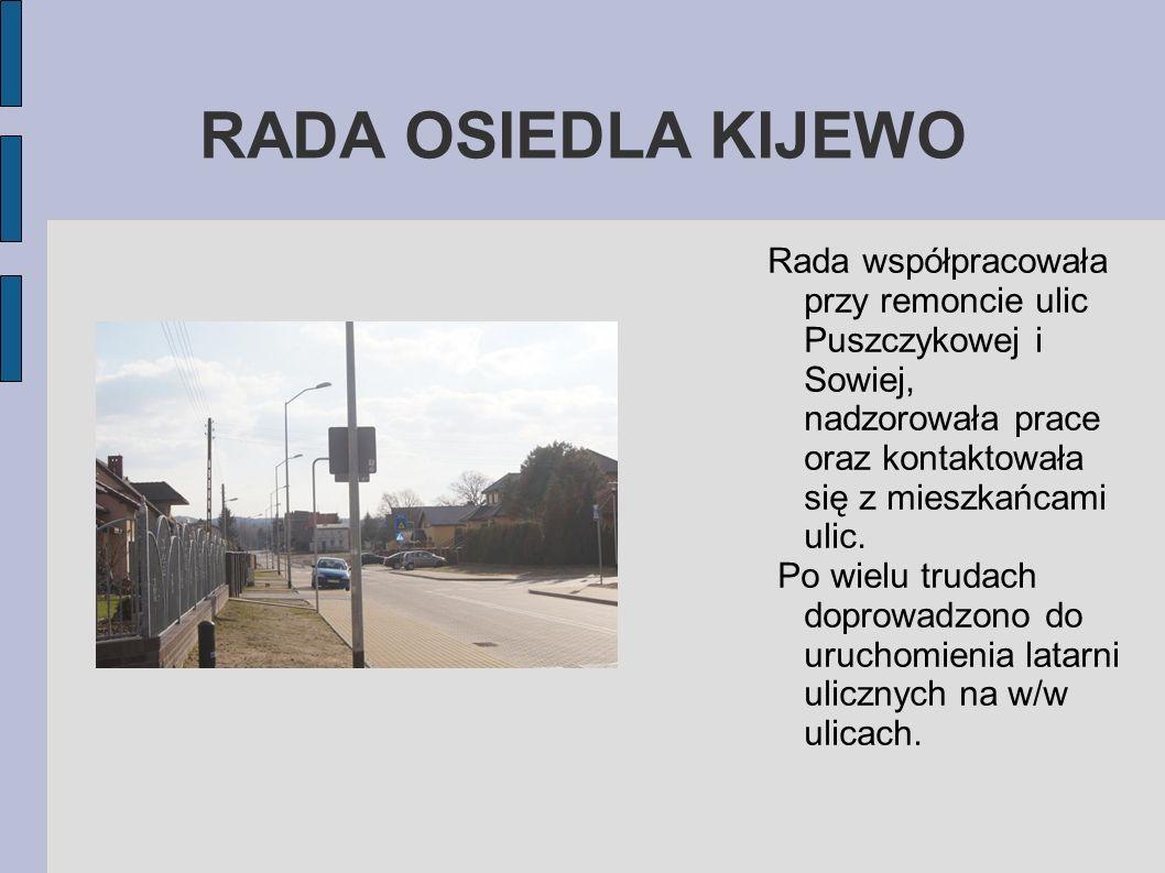 RADA OSIEDLA KIJEWO Rada współpracowała przy remoncie ulic Puszczykowej i Sowiej, nadzorowała prace oraz kontaktowała się z mieszkańcami ulic.