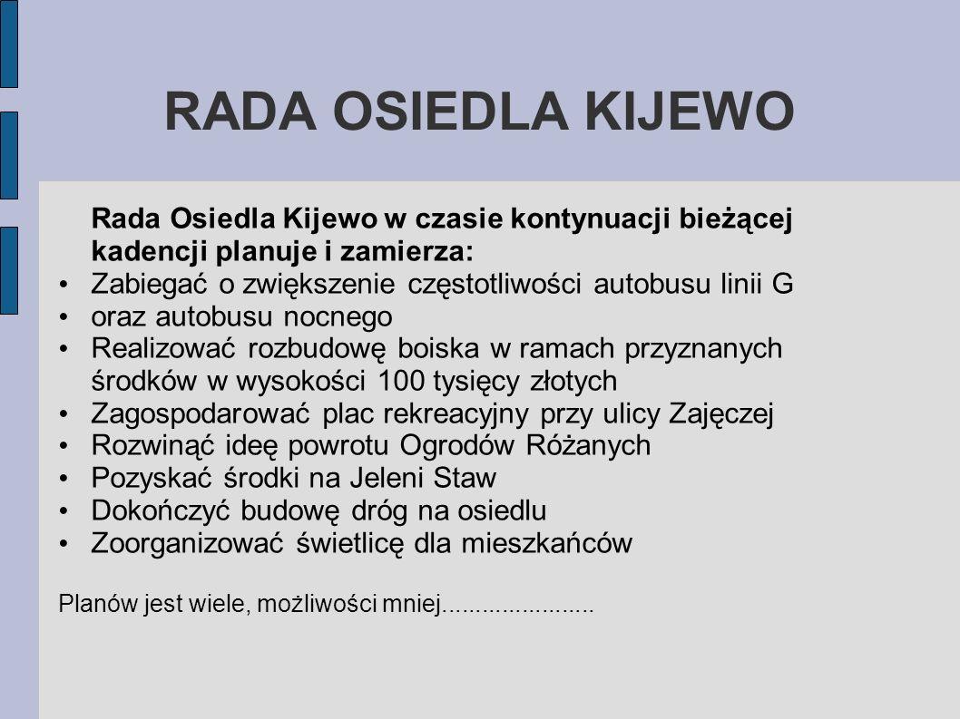 RADA OSIEDLA KIJEWO Rada Osiedla Kijewo w czasie kontynuacji bieżącej kadencji planuje i zamierza:
