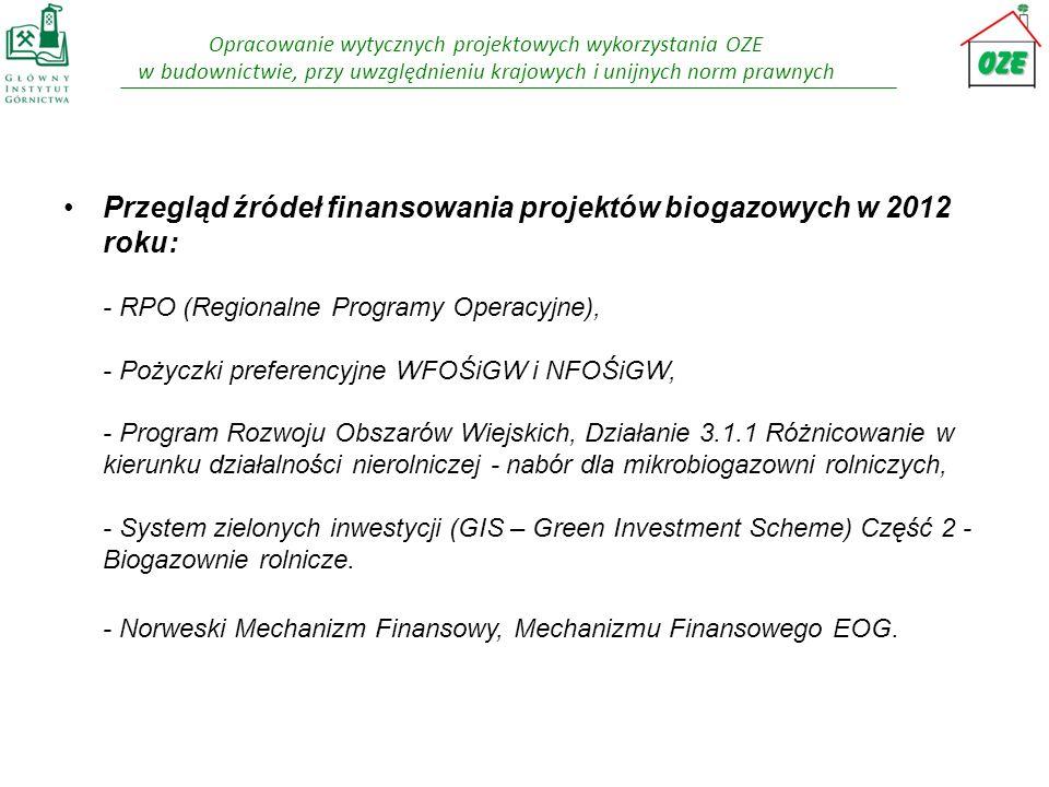 Przegląd źródeł finansowania projektów biogazowych w 2012 roku: - RPO (Regionalne Programy Operacyjne), - Pożyczki preferencyjne WFOŚiGW i NFOŚiGW, - Program Rozwoju Obszarów Wiejskich, Działanie 3.1.1 Różnicowanie w kierunku działalności nierolniczej - nabór dla mikrobiogazowni rolniczych, - System zielonych inwestycji (GIS – Green Investment Scheme) Część 2 - Biogazownie rolnicze.