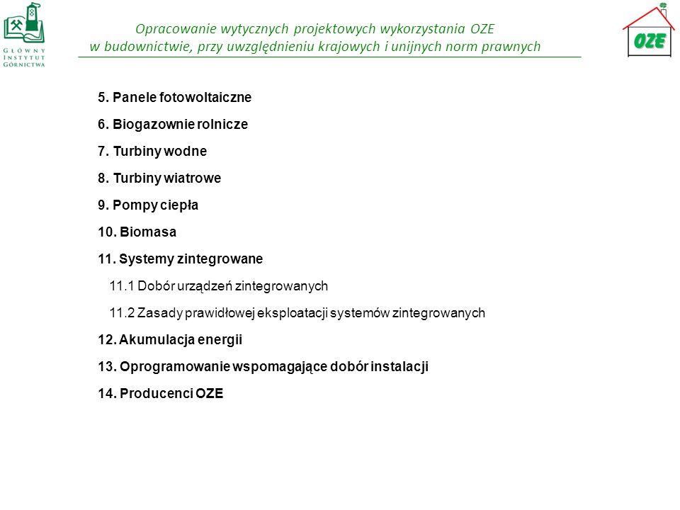 5. Panele fotowoltaiczne 6. Biogazownie rolnicze 7. Turbiny wodne 8