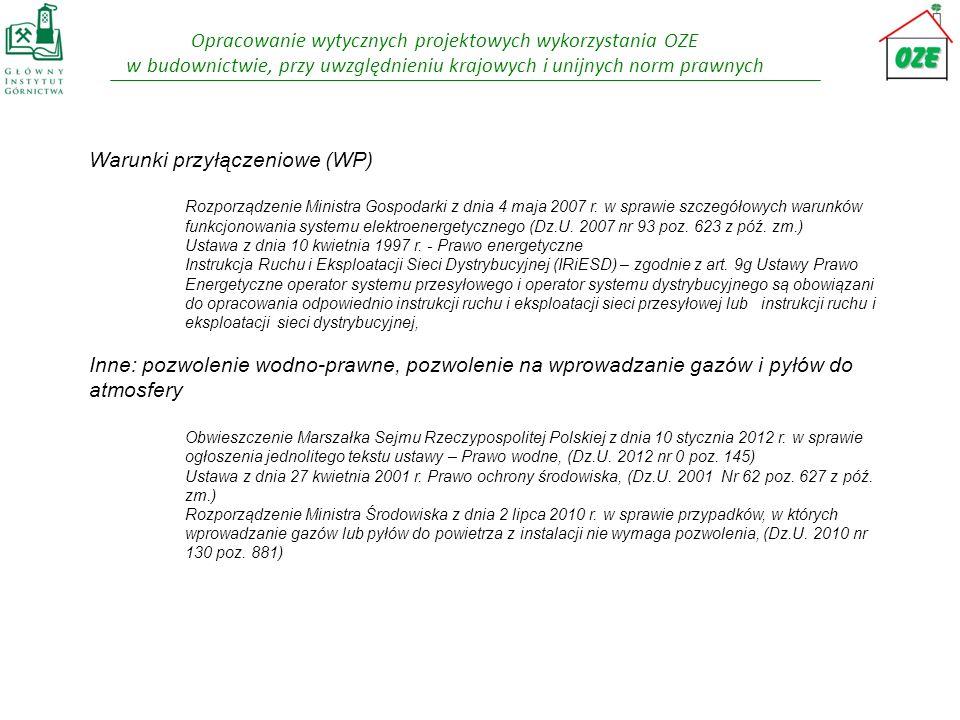 Warunki przyłączeniowe (WP)