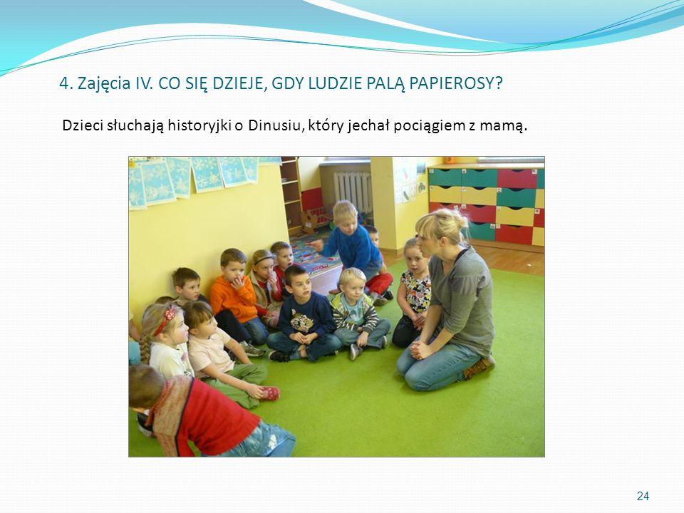 Dzieci słuchają historyjki o Dinusiu, który jechał pociągiem z mamą.