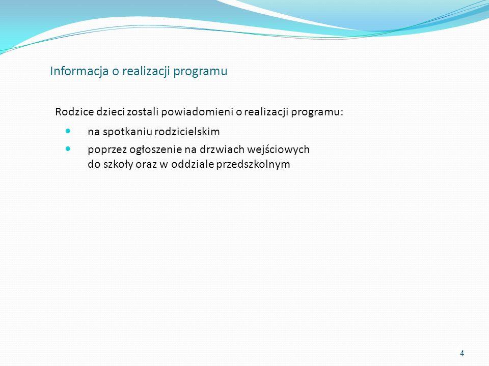 Informacja o realizacji programu