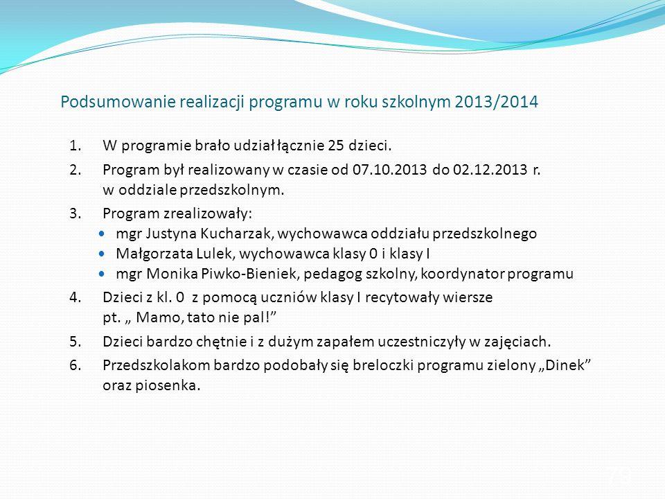Podsumowanie realizacji programu w roku szkolnym 2013/2014