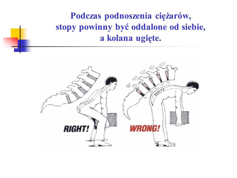 Podczas podnoszenia ciężarów, stopy powinny być oddalone od siebie, a kolana ugięte.