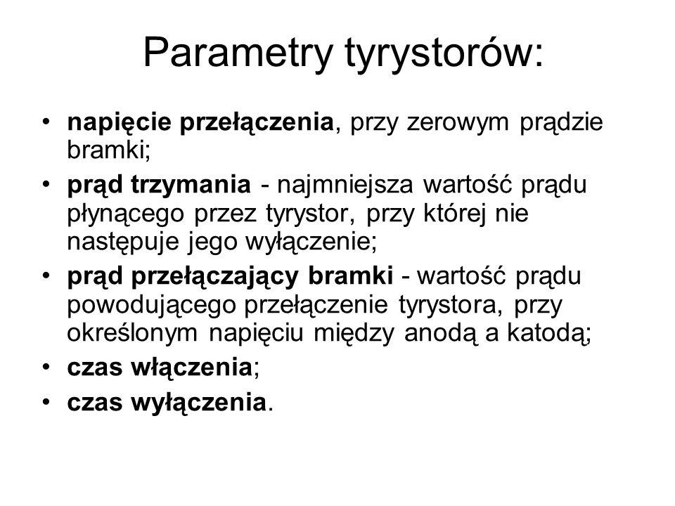 Parametry tyrystorów: