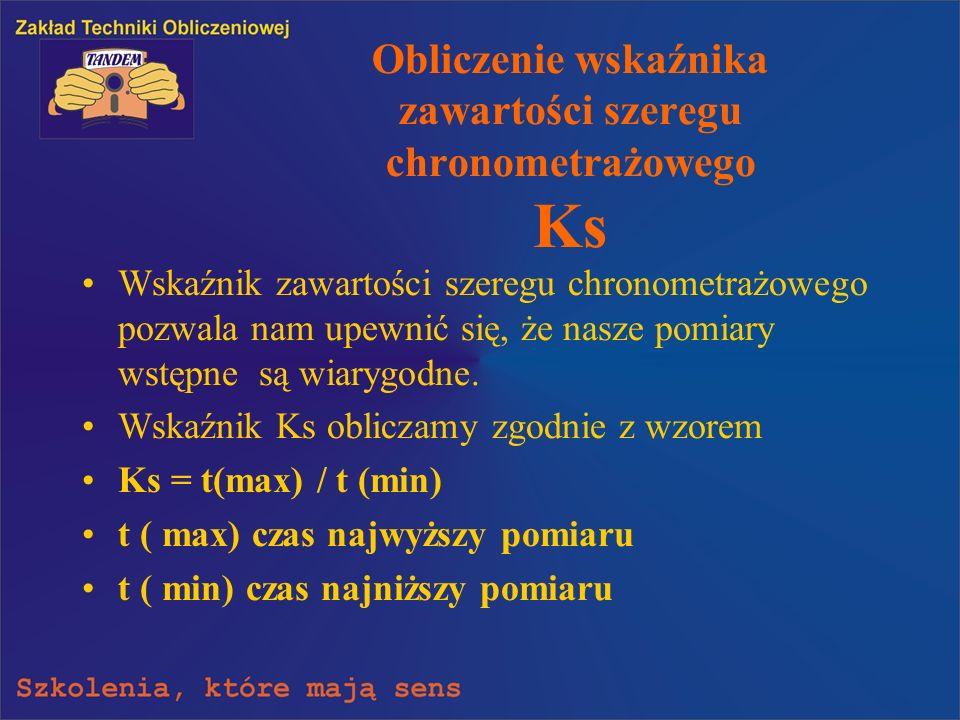 Obliczenie wskaźnika zawartości szeregu chronometrażowego Ks