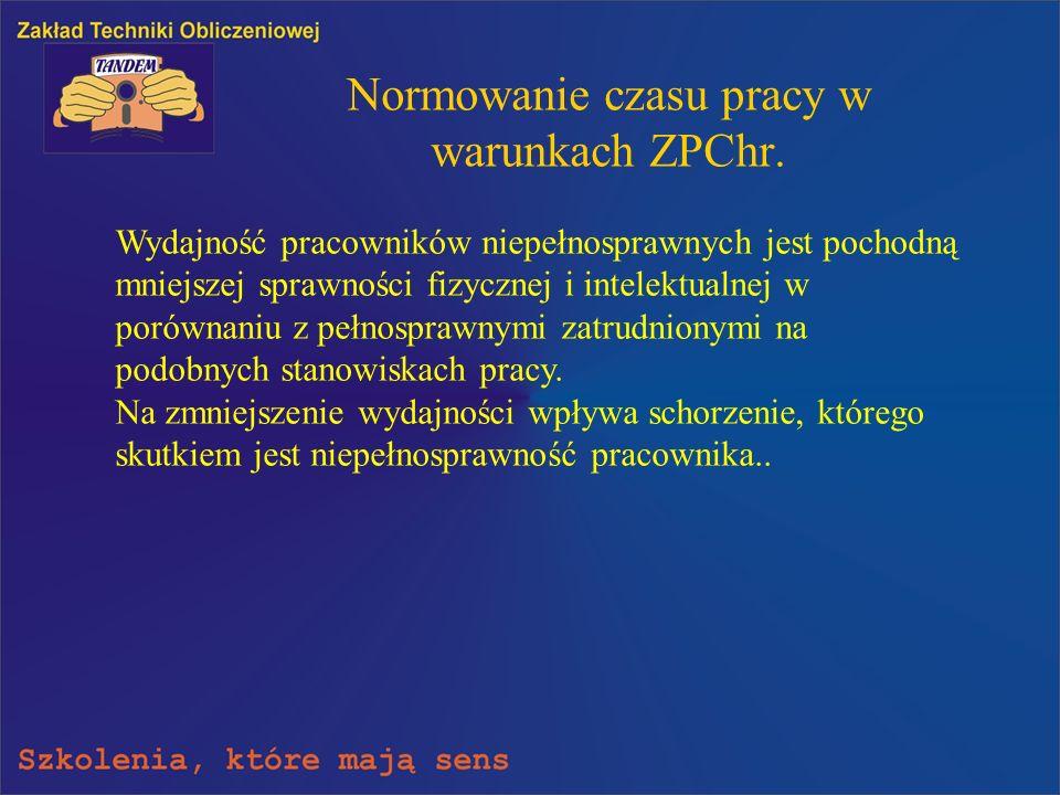 Normowanie czasu pracy w warunkach ZPChr.