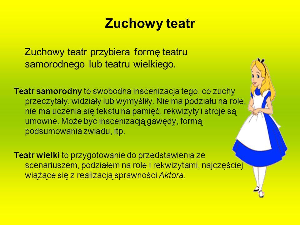 Zuchowy teatr Zuchowy teatr przybiera formę teatru samorodnego lub teatru wielkiego.