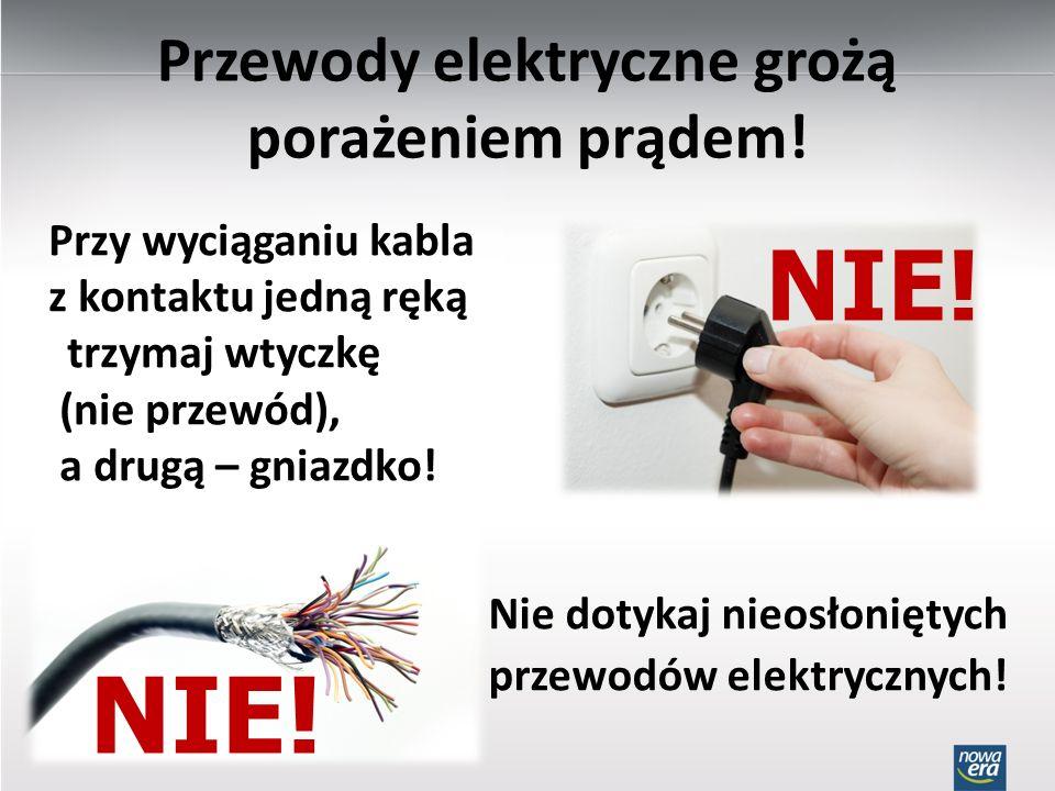 Przewody elektryczne grożą porażeniem prądem!