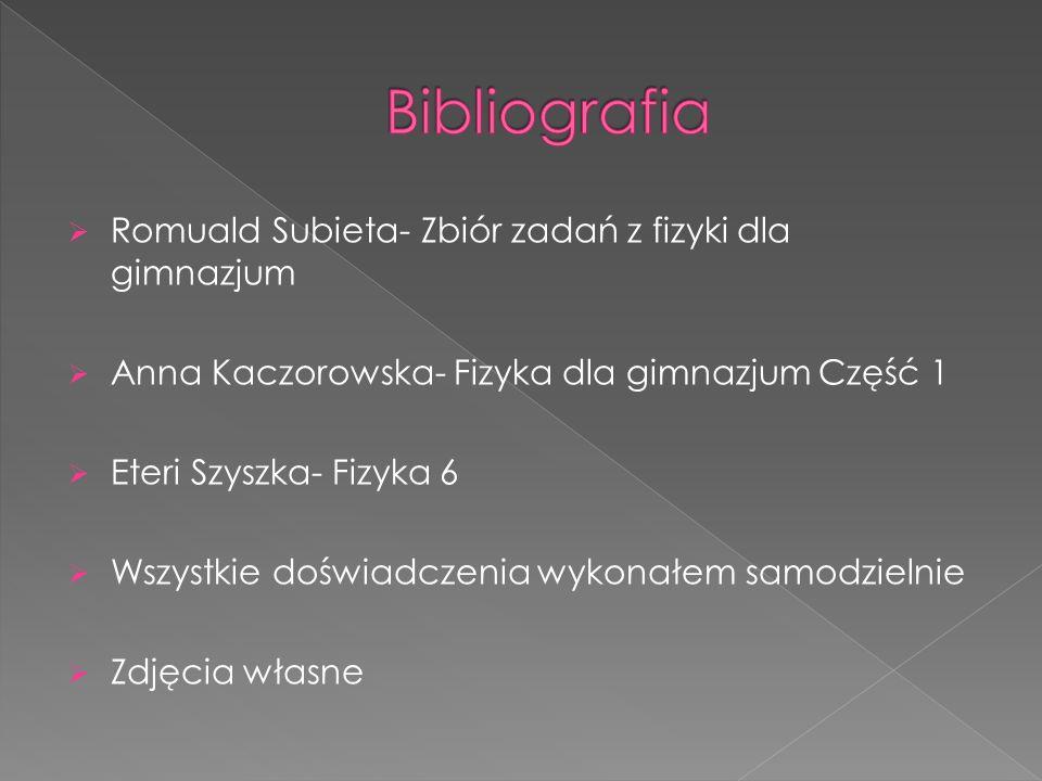 Bibliografia Romuald Subieta- Zbiór zadań z fizyki dla gimnazjum
