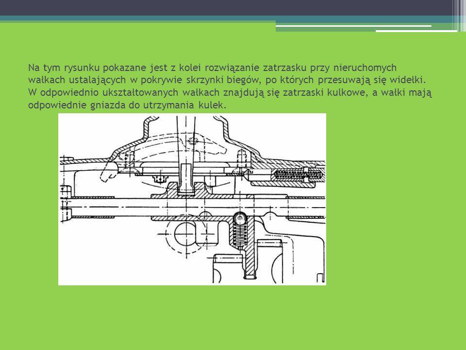 Na tym rysunku pokazane jest z kolei rozwiązanie zatrzasku przy nieruchomych wałkach ustalających w pokrywie skrzynki biegów, po których przesuwają się widełki.