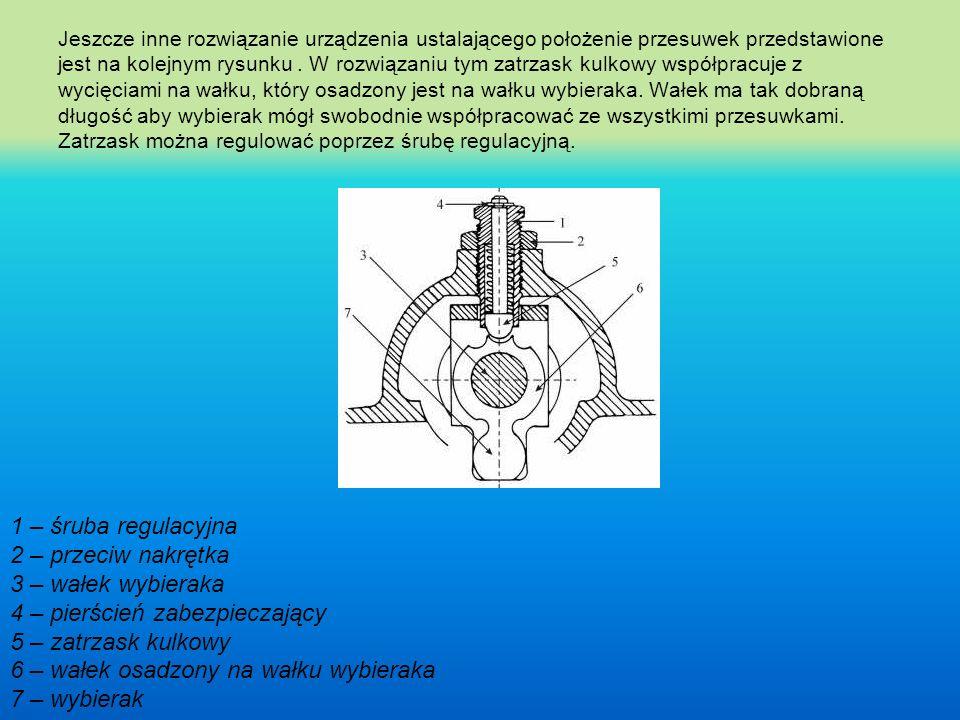 Jeszcze inne rozwiązanie urządzenia ustalającego położenie przesuwek przedstawione jest na kolejnym rysunku . W rozwiązaniu tym zatrzask kulkowy współpracuje z wycięciami na wałku, który osadzony jest na wałku wybieraka. Wałek ma tak dobraną długość aby wybierak mógł swobodnie współpracować ze wszystkimi przesuwkami. Zatrzask można regulować poprzez śrubę regulacyjną.