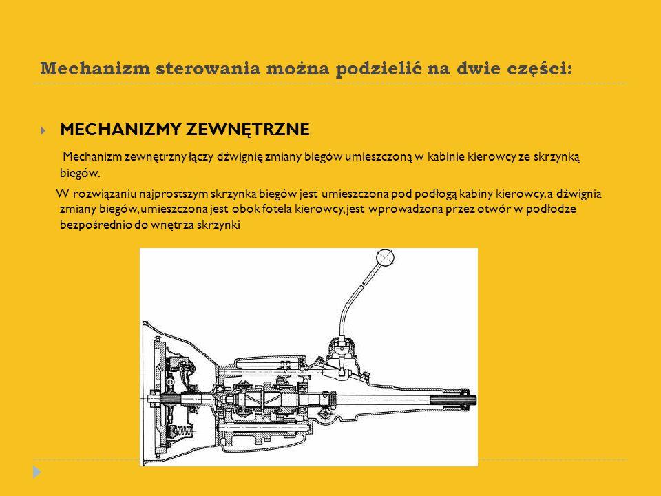 Mechanizm sterowania można podzielić na dwie części: