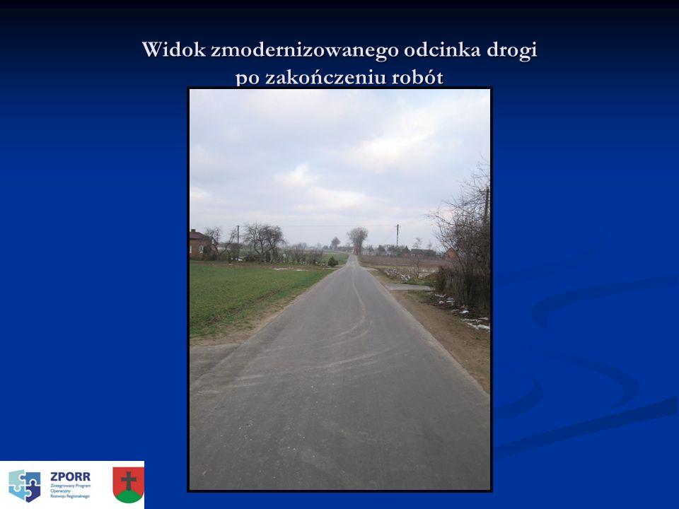 Widok zmodernizowanego odcinka drogi po zakończeniu robót