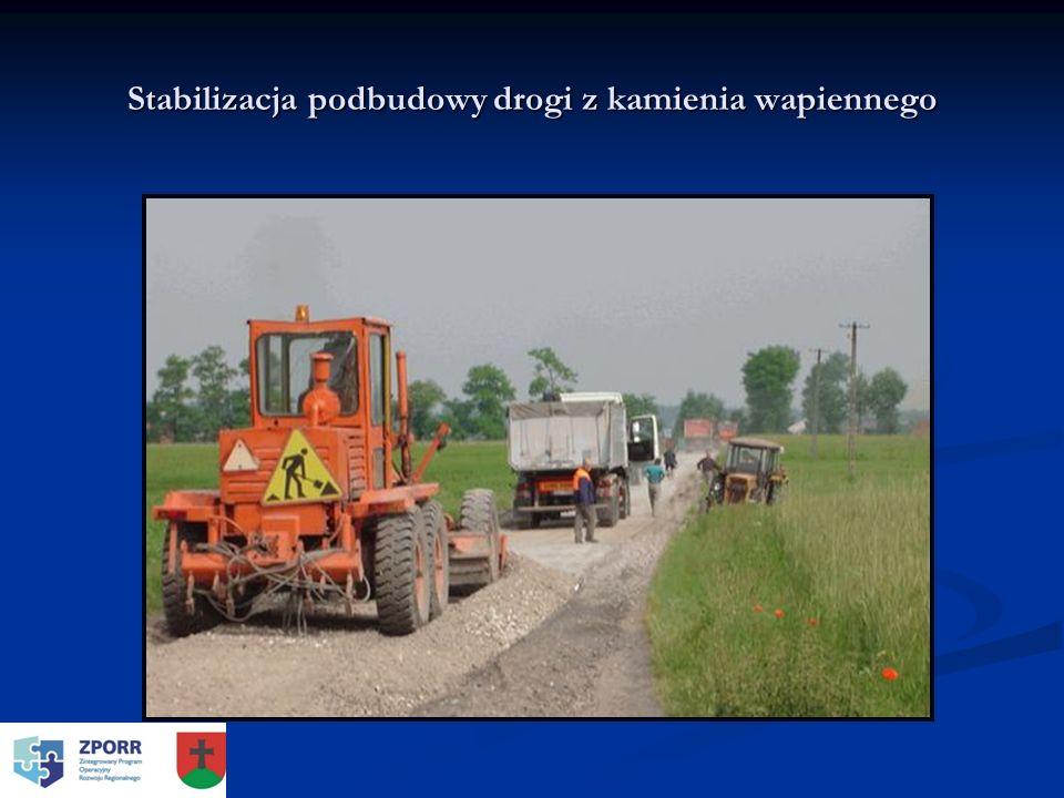 Stabilizacja podbudowy drogi z kamienia wapiennego