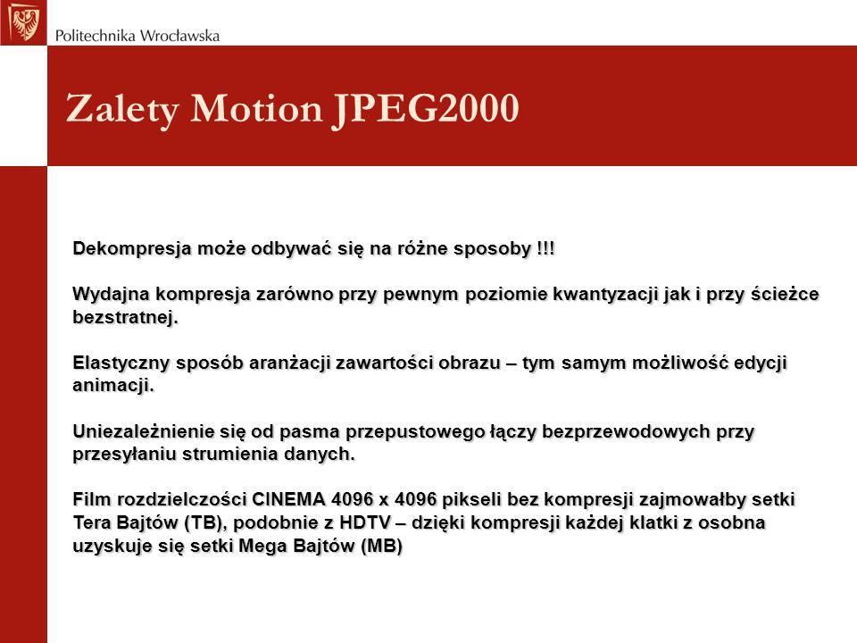 Zalety Motion JPEG2000