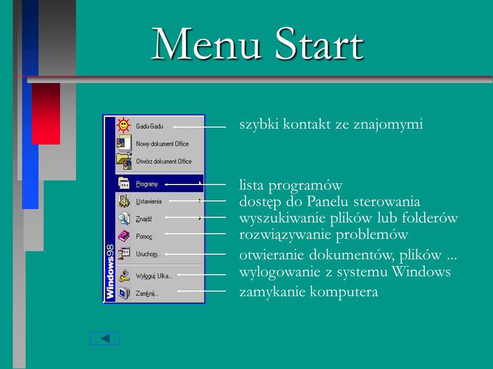 Menu Start szybki kontakt ze znajomymi lista programów