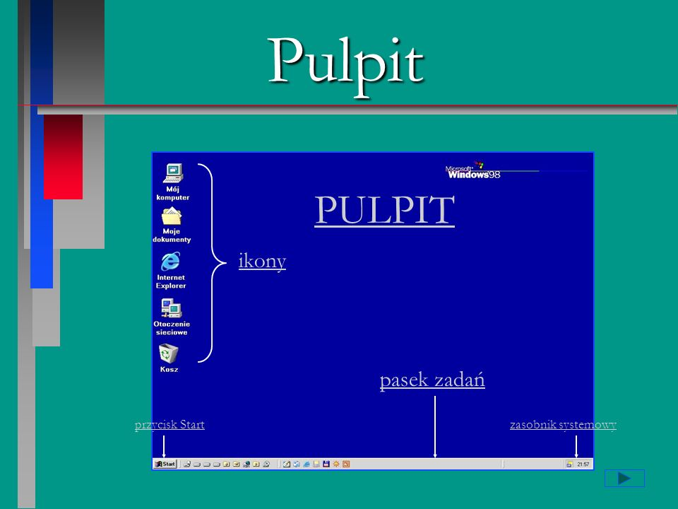 Pulpit PULPIT ikony pasek zadań przycisk Start zasobnik systemowy