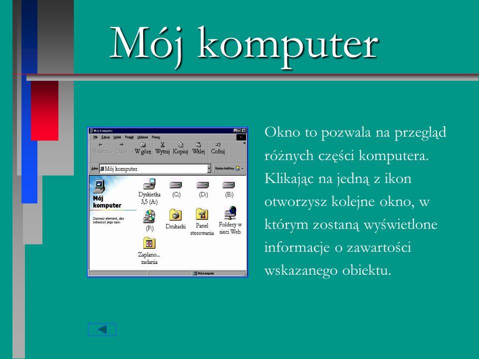 Mój komputer Okno to pozwala na przegląd różnych części komputera.