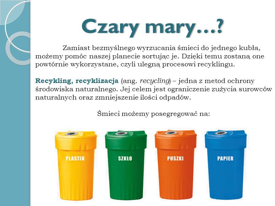 Śmieci możemy posegregować na: