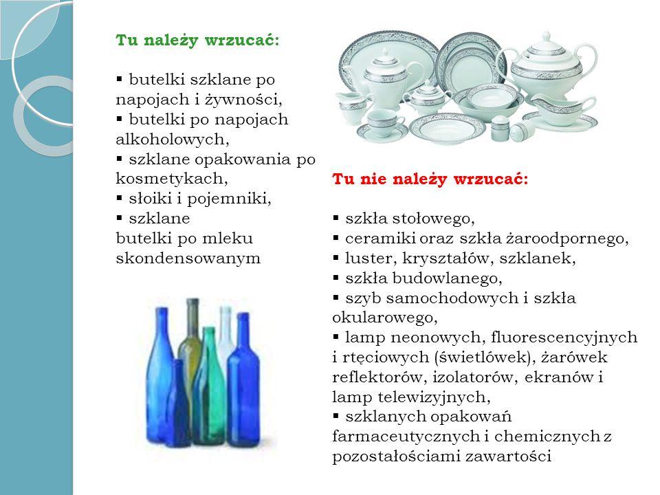 Tu należy wrzucać:butelki szklane po napojach i żywności, butelki po napojach alkoholowych, szklane opakowania po kosmetykach,